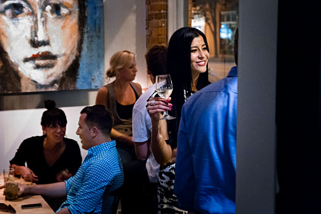 Mouton-Bar-Columbus-Ohio-Short North-Nylon-woman-with-wine-smiling-conversation