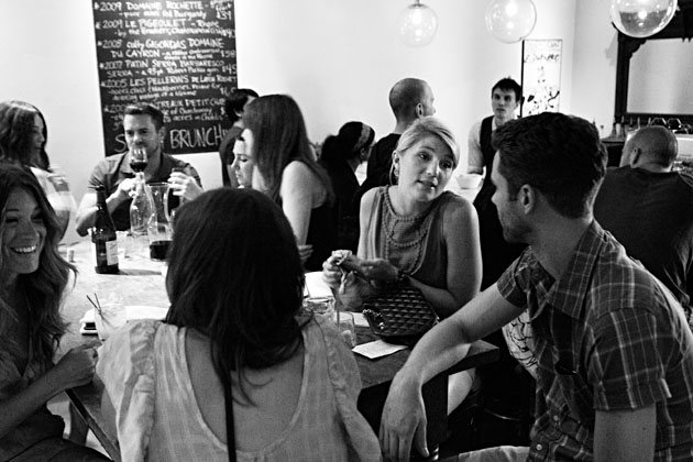 Mouton-bar-Columbus-Ohio-Nylon-Launch-Party-black-and-white-crowd-people-talking-busy