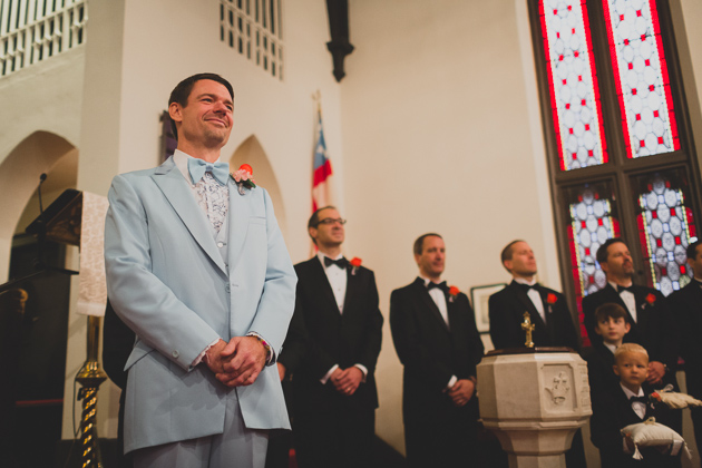 Groom-Waiting-For-The-Bride-in-Church-Lancaster-Ohio-Wedding