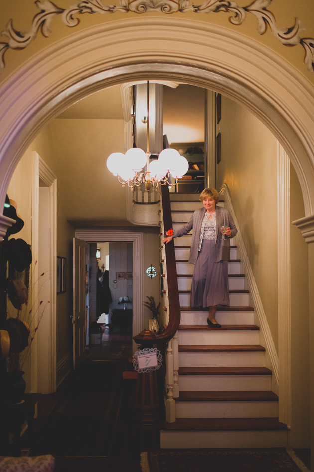 Mother-of-The-Bride-Walking-Down-Stairs-Kittle-House-Wedding