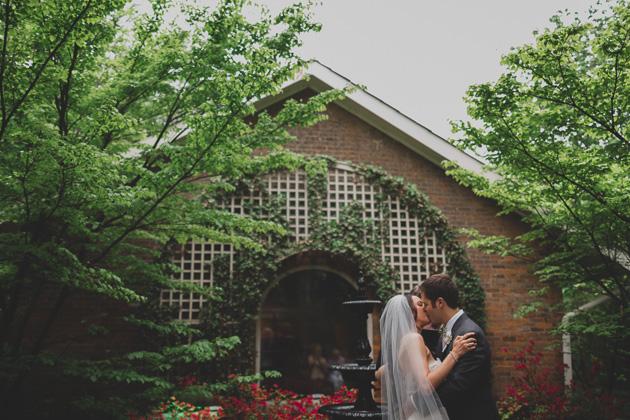 First-Kiss-Outdoor-Wedding-Ceremony-The-Kelton-House-Columbus-Ohio